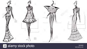 sketch of fashion model design of dresses based on architecture
