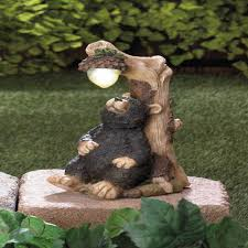 solar bear garden statue lawn ornament lighted yard decoration sun