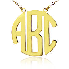 monogram necklace cheap solid gold initial block monogram pendant necklace 10k initials