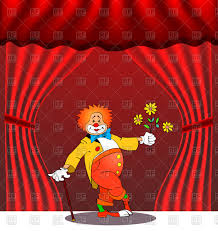 birthday greeting card with clown on stage vector clipart image