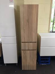 White Oak Veneer 1680mm White Oak Timber Wood Grain Wall Hung Bathroom Tallboy
