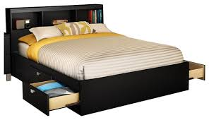 Full Platform Bed With Headboard Bedroom Amazing Full Platform Bed With Storage Drawer U0026 Bookcase