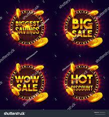 set golden sale discount lettering text stock vector 702638704
