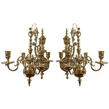 Brass Antique Chandelier 19th Century Pair Of Four Brass Candle Chandelier Wall Sconces At