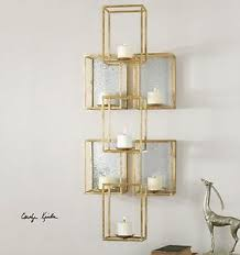 Mirrored Wall Sconce Large 47 Gold Leaf Metal Cube Shape Aged Mirror Back Wall Sconce