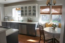 contemporary yellow and white painted kitchen cabinets design in