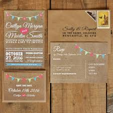 vintage invitations vintage bunting kraft effect white text wedding invitation