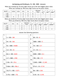 multiplying and dividing by 10 100 1000 and metric conversions by
