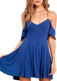 blue draped spaghetti strap off shoulder open back v neck mini