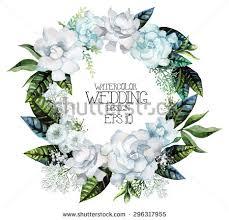 Wedding Design Watercolor Gardenia Gypsophila Wreath Vector Wedding Stock Vector