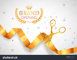Inauguration Invitation Card Sample Grand Opening Invitation Banner Golden Ribbon Stock Vector