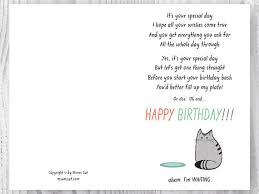 birthday card from the cat printable funny happy birthday