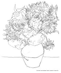 van gogh tournesols art coloring pages for kids to print u0026 color