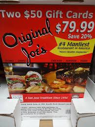 discount restaurant gift cards original joe s discount gift card