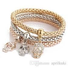 skull crystal bracelet images European bracelet crystal skull circular pendant bracelet gold jpg