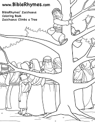 Climbing A Tree Biblerhymes Zacchaeus Coloring Book Zacchaeus Coloring Page