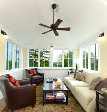 Craftsman Ceiling Fan Four Seasons Sunrooms Porch Rustic With Brown Floor Tile Ceiling
