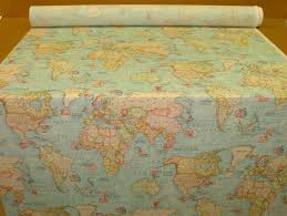 World Globe Map Blue Atlas World Globe Map Cotton Linen Fabric Curtain Blinds