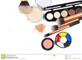 professional makeup artist tools cosmetics and makeup tools for professional makeup top view stock