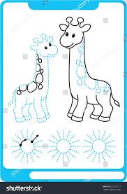 two giraffe preschool worksheet practicing fine stock vector