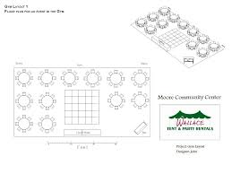 possible floor plan for an event in the gymnasium down east