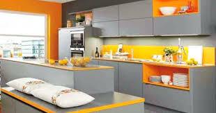 cuisine jaune et grise deco cuisine orange cuisine grise orange ixina dacco