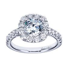 2 carat white gold engagement ring brilliant cushion halo gabriel ring 2 carats 14kt