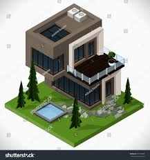 modern country house lawn swimming pool stock vector 257799586