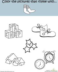 kindergarten rhyming worksheets education com