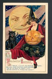 the halloween lantern vintage halloween greetings card with angry