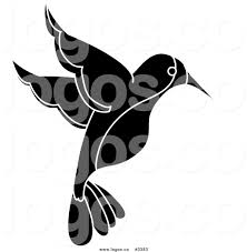 royalty free vector of a black and white hummingbird logo by pams