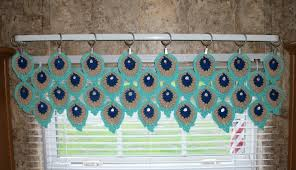 Peacock Curtains Peacock Feather Window Valance Crochet Kitchen Curtain