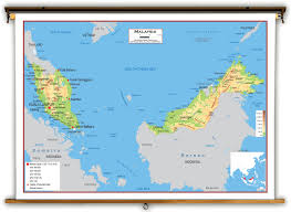 Map Of Malaysia Malaysia Physical Educational Wall Map From Academia Maps