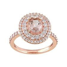engagement rings kohl s gold morganite 9 10 carat t w oval halo engagement