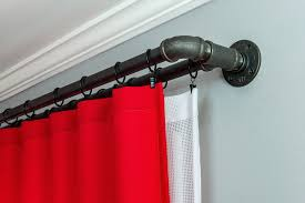 diy pipe curtain rod black steel double rod elbow joint