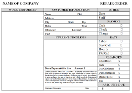 Repair Order Template Excel Auto Repair Receipt Template Free