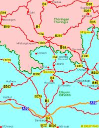 bamberg germany map road map 4 franconia illmenau saalfeld meiningen
