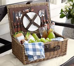 wine picnic baskets rattan picnic basket for 2 pottery barn