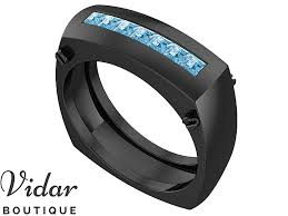 aquamarine wedding rings black gold aquamarine wedding band for men vidar boutique