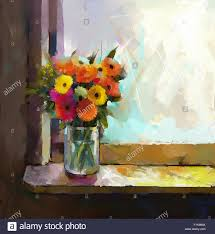 oil painting bouquet of daisy and gerbera flowers glass vase with flowers in front of the