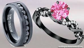 black and pink wedding ring sets pink and black wedding ring sets justanother me