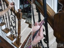 Restaining Banister How To Install Iron Balusters View Along The Way