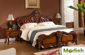 classic king size wood carving bed w leather headboard md13d28