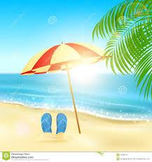 Beach Sun Umbrella Flip Flops And Umbrella On The Beach Stock Vector Image 51988724
