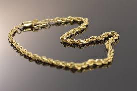 gold bracelet rope images 10k 3 8g simple rope men 39 s yellow gold bracelet 9 quot property room jpg