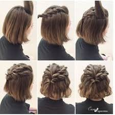 step by step braid short hair this quick messy updo for short hair is so cool messy updo updo