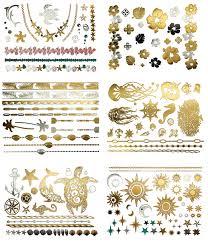 amazon com gold u0026 silver metallic temporary tattoos hawaii by