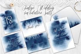 watercolor wedding invitations indigo watercolor wedding invitation su design bundles