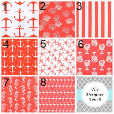 Coral Blackout Curtains Coral Window Curtain Salmon Pink Curtain Panels Nautical