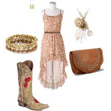 high low dress w cowgirl boots polyvore
